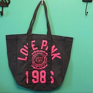 VS Pink Canvas Tote Overnight Bag 1986 Large
